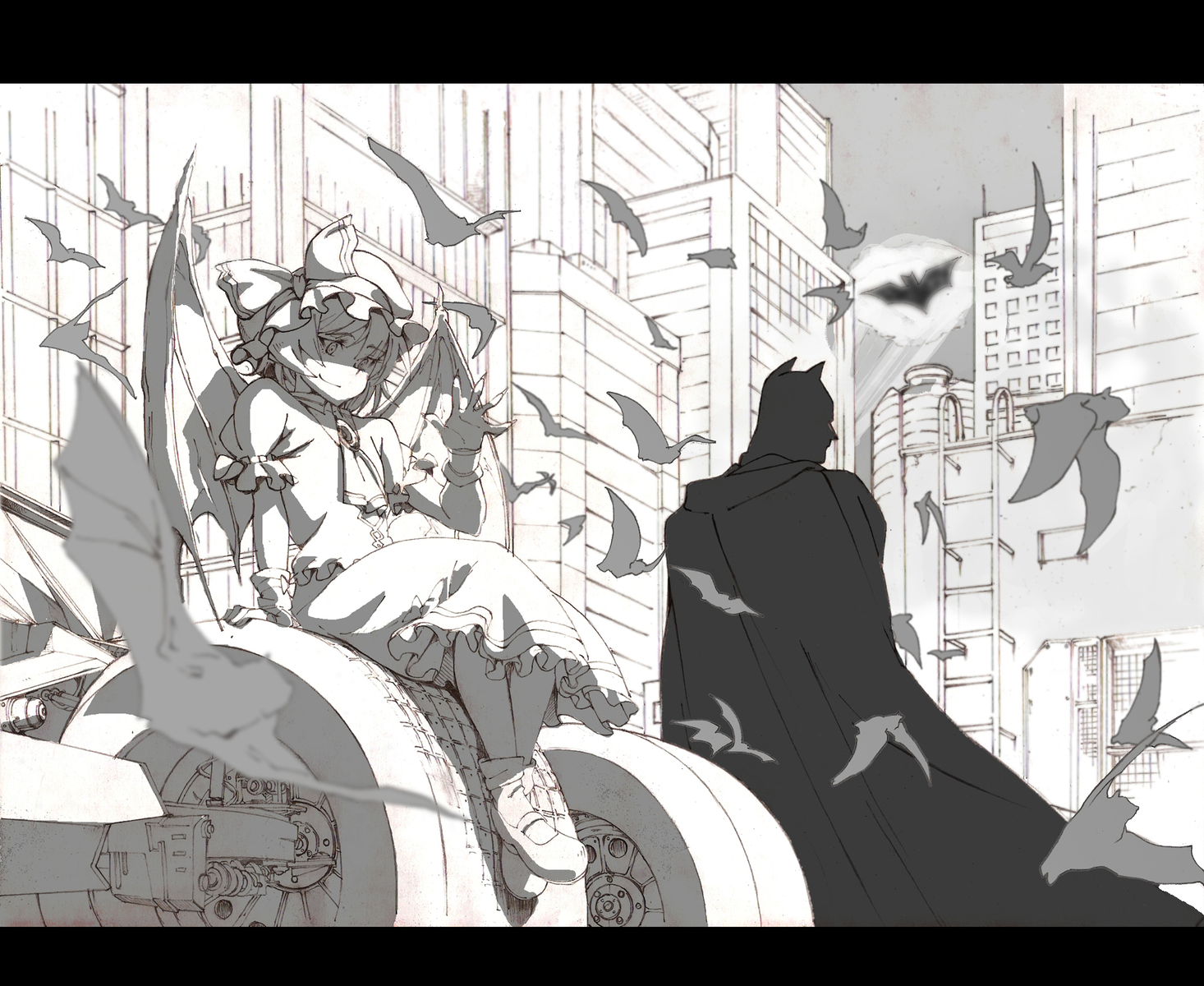 animal bat batman batman_(series) crossover hat monochrome mtmy remilia_scarlet touhou vampire wings