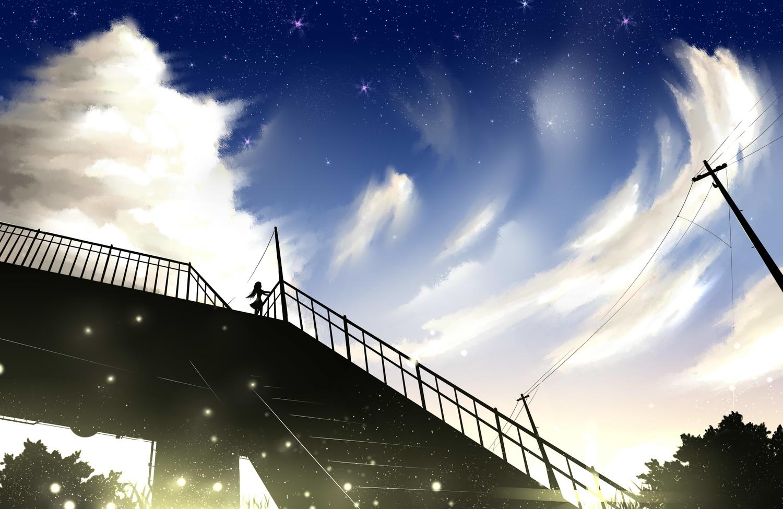 aliasing clouds long_hair louders original silhouette sky stairs stars