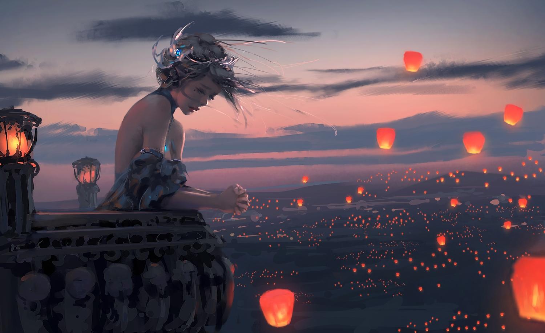 celestia_(wlop) ghostblade gray_hair necklace scenic short_hair sky sunset tiara wlop