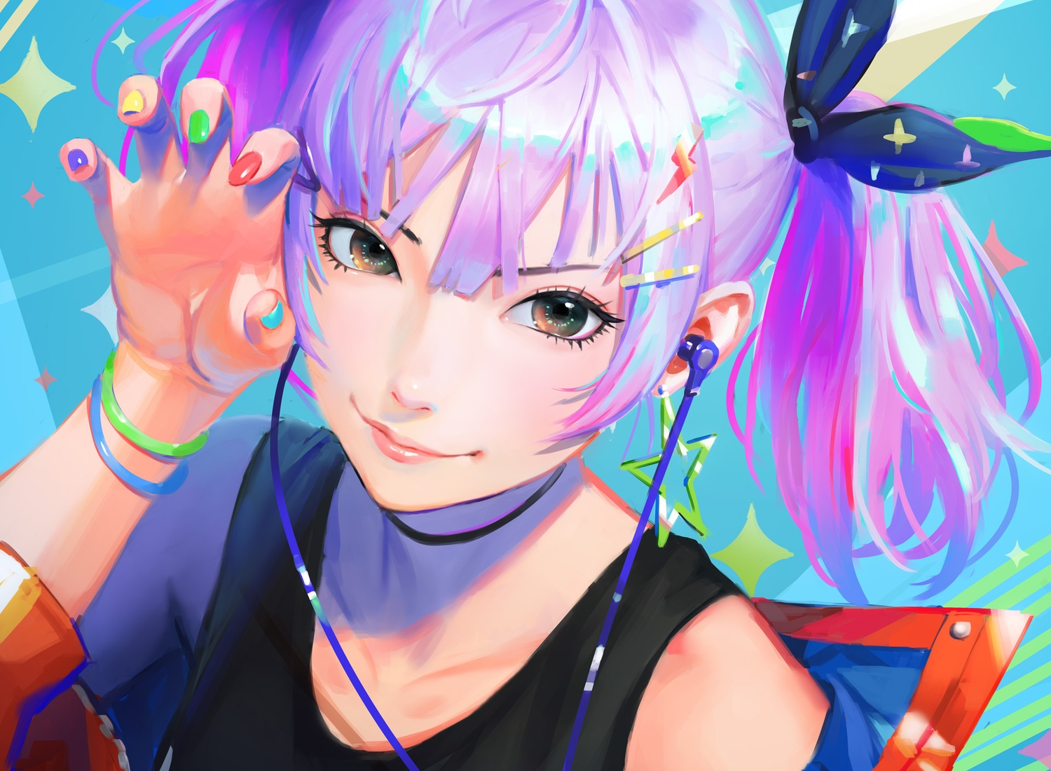 close cropped headphones nababa original purple_hair realistic short_hair twintails