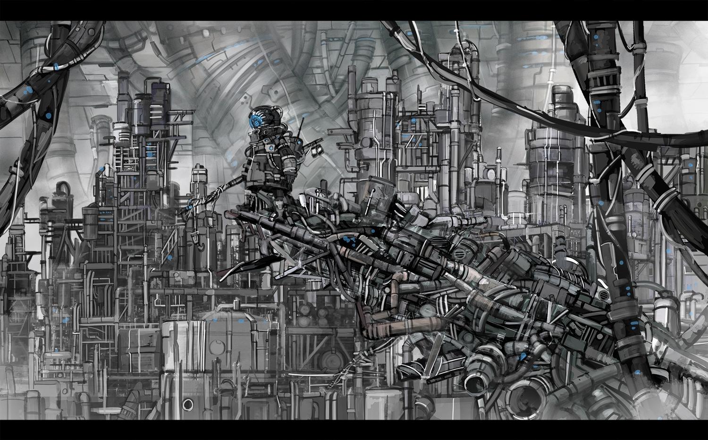 building gray industrial original polychromatic robot scenic sonidoriy