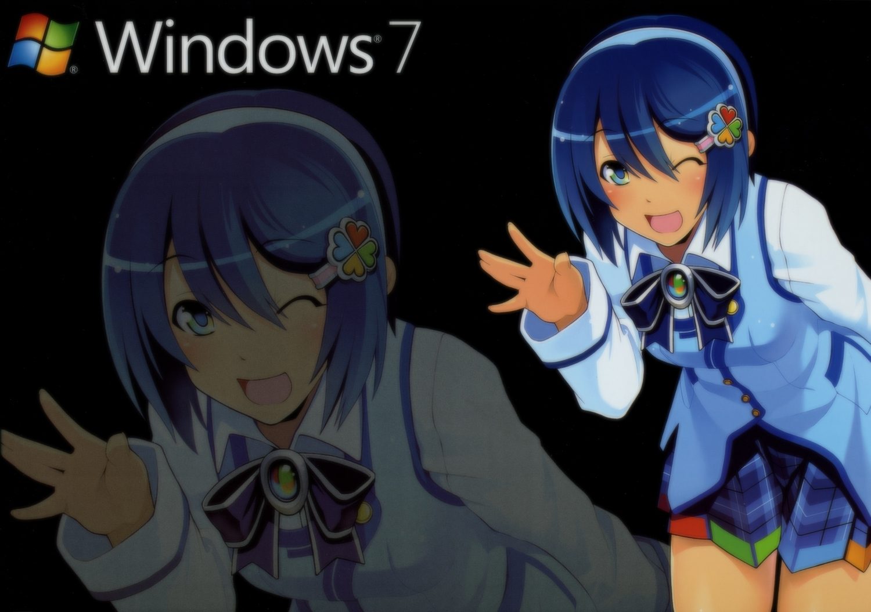 blue_eyes blue_hair bow madobe_nanami microsoft os-tan short_hair skirt thighhighs windows wink zoom_layer