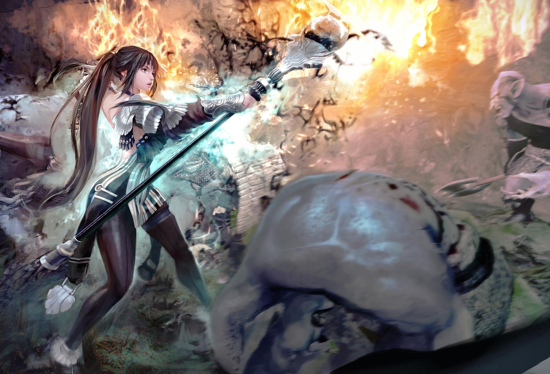 black_eyes brown_hair evie fire long_hair mabinogi mabinogi_heroes magic pointed_ears ponytail staff weapon