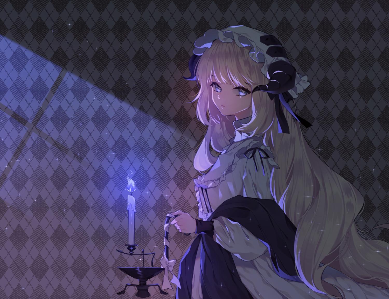 arknights blonde_hair blue_eyes dark dress hat horns long_hair nightingale_(arknights) rimsuk