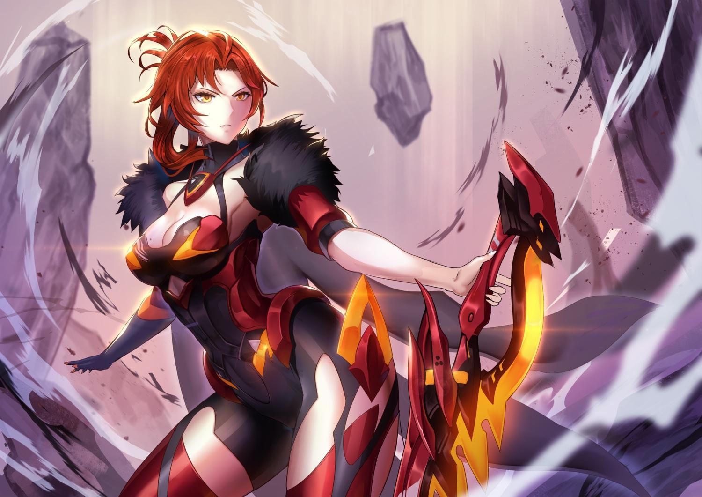 bodysuit breasts cape cleavage hidezi honkai_impact murata_himeko red_hair short_hair sword weapon yellow_eyes