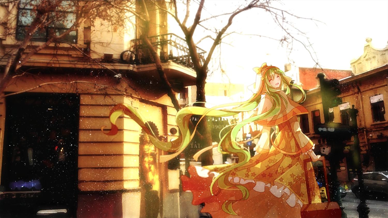 building dress hatsune_miku long_hair photo tree vocaloid winter yasato