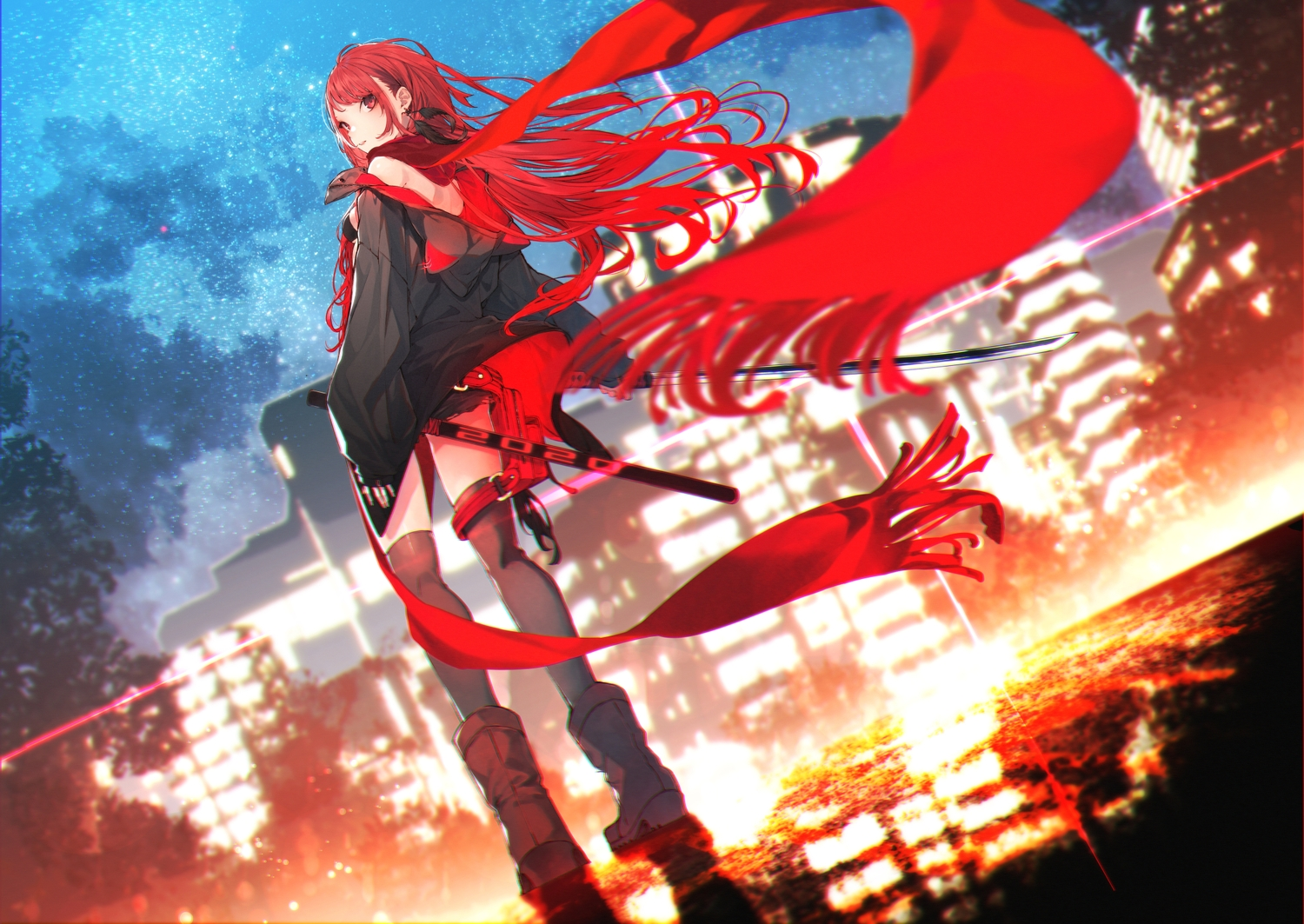 aliasing boots building city katana kuwashima_rein long_hair original red_eyes red_hair scarf sword thighhighs weapon