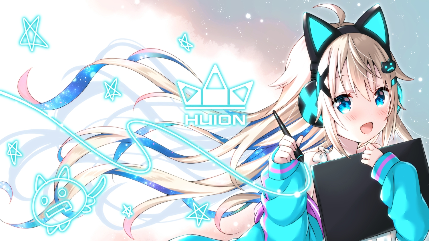 animal_ears aqua_eyes blonde_hair blush headphones huion long_hair uchuuneko uchuu_neko_(vtuber)