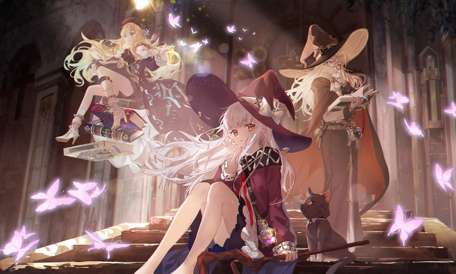 animal blonde_hair book butterfly cat dress garter_belt glasses hat kanose long_hair red_eyes staff stairs white_hair witch witch_hat
