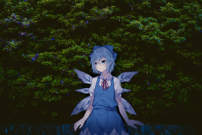 blue_eyes blue_hair cirno dress fairy minamiya_mia photo short_hair touhou wings