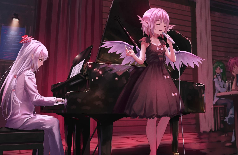 dress fujiwara_no_mokou green_hair instrument kochiya_sanae long_hair microphone mystia_lorelei onozuka_komachi piano pink_hair roke_(taikodon) short_hair touhou white_hair wings