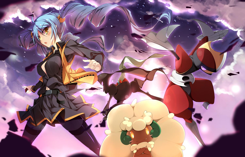 ace_trainer bisharp blue_hair darkrai nasudora pokemon sky whimsicott yellow_eyes