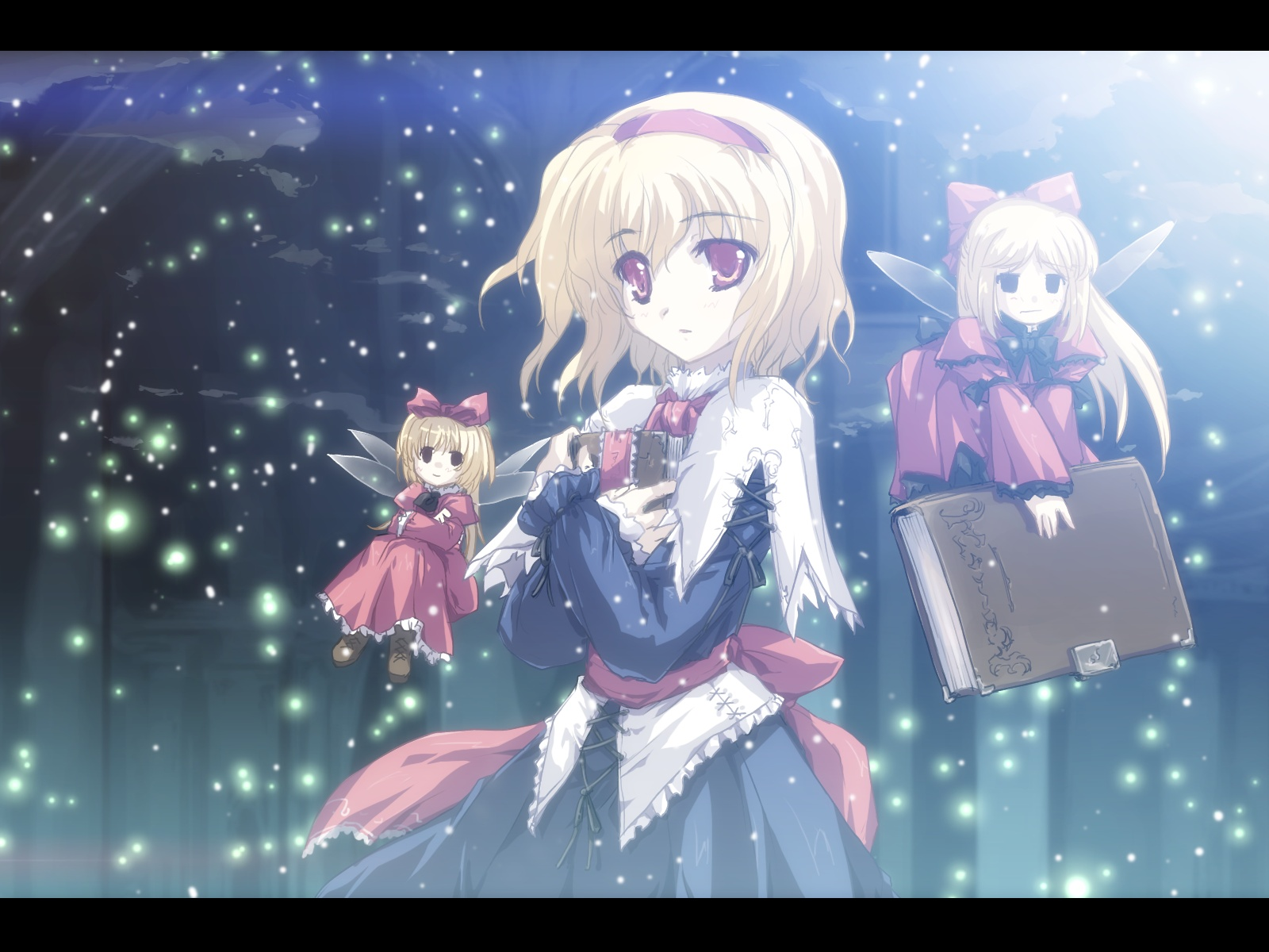 alice_margatroid blonde_hair book boots doll dress hourai long_hair red_eyes ribbons shanghai_doll short_hair tokiame touhou wings