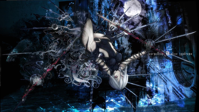 bodysuit moon original purple_eyes rib:y(uhki) skintight weapon