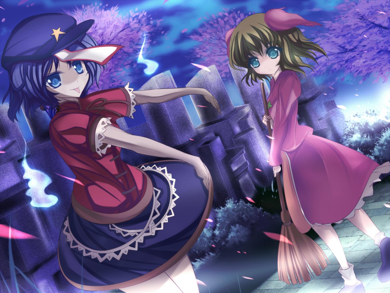 2girls animal_ears blue_eyes blue_hair cherry_blossoms flowers green_eyes green_hair kasodani_kyouko marionette_(excle) miyako_yoshika petals touhou