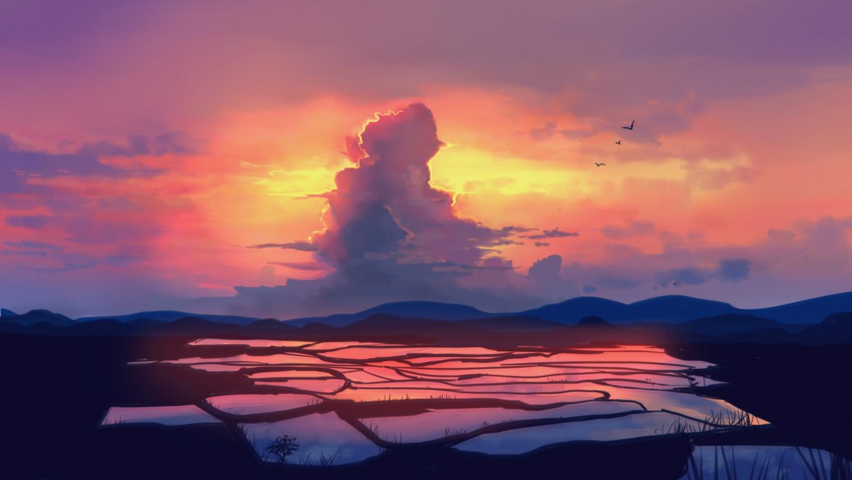 animal bird clouds landscape natsut original scenic sky sunset water