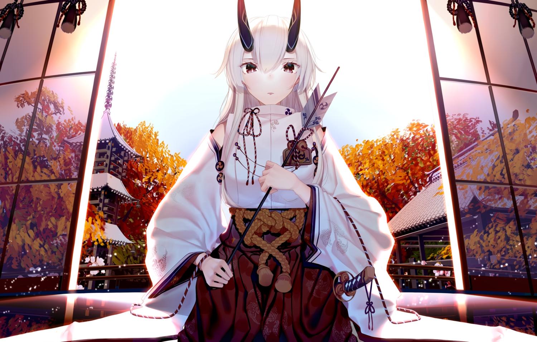 atha fate/grand_order fate_(series) horns japanese_clothes katana long_hair miko red_eyes sword tomoe_gozen weapon white_hair