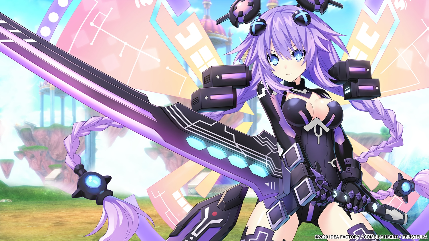 aqua_eyes bodysuit breasts gloves hyperdimension_neptunia long_hair purple_hair purple_heart sword tagme_(artist) weapon wings