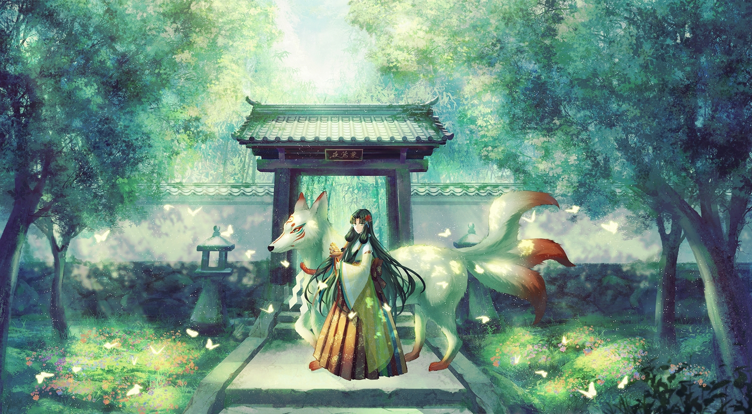 animal bell black_hair flowers forest fox green_eyes japanese_clothes long_hair miko multiple_tails original shrine stairs tail torii translation_request tree yingsu_jiang