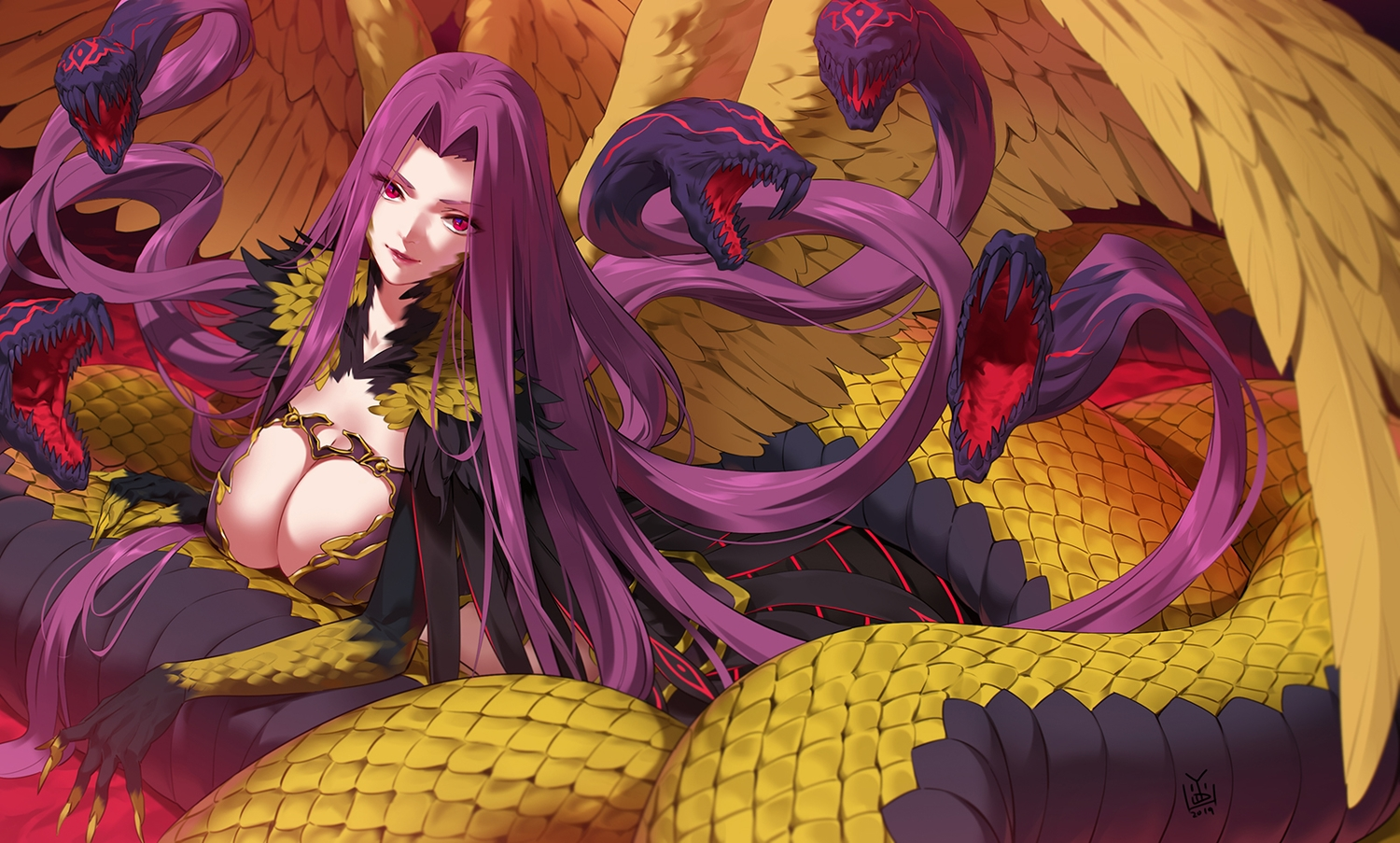animal breasts cleavage fate/grand_order fate_(series) feathers gorgon_(fate) long_hair purple_hair red_eyes signed snake wings yang-do