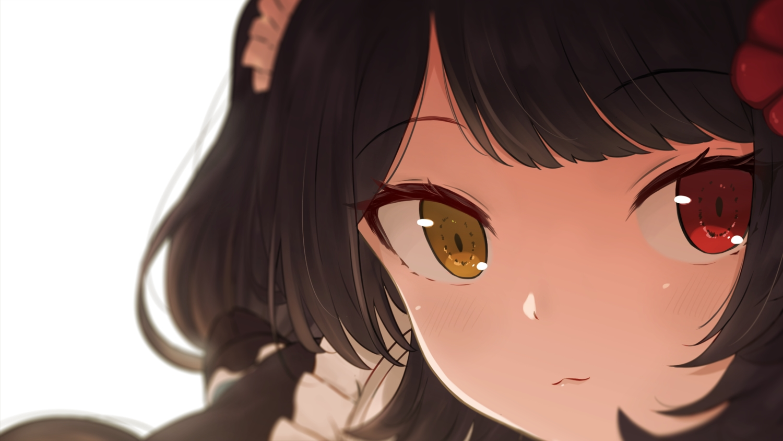 bicolored_eyes black_hair blush cat_smile close headdress inui_toko nijisanji short_hair yanoynk