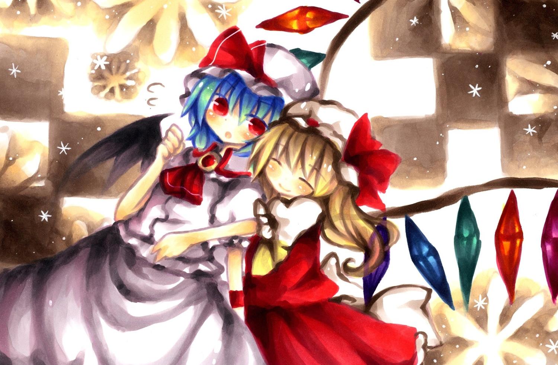 2girls blonde_hair blue_hair dress flandre_scarlet hat red_eyes remilia_scarlet ribbons short_hair touhou vampire wings wiriam07