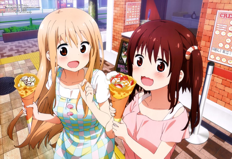 2girls blonde_hair brown_eyes doma_umaru ebina_nana food himouto!_umaru-chan long_hair megami red_eyes red_hair scan yoshida_kanako