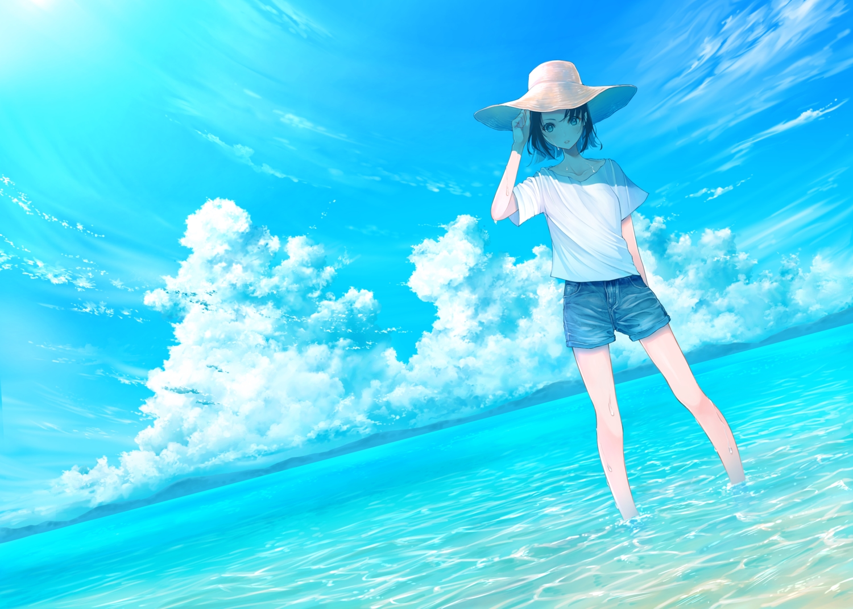 clouds hat original remon_sato scenic short_hair shorts sky summer water