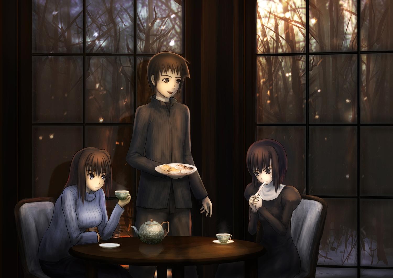 amema aozaki_aoko blue_eyes brown_eyes drink food gray_eyes kuonji_alice long_hair mahou_tsukai_no_yoru male shizuki_soujuurou short_hair winter