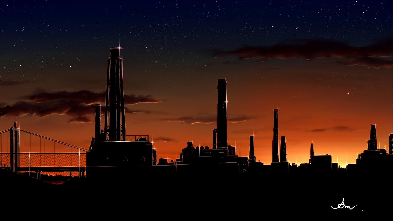 alpcmas building clouds dark industrial nobody original scenic signed silhouette sky stars sunset