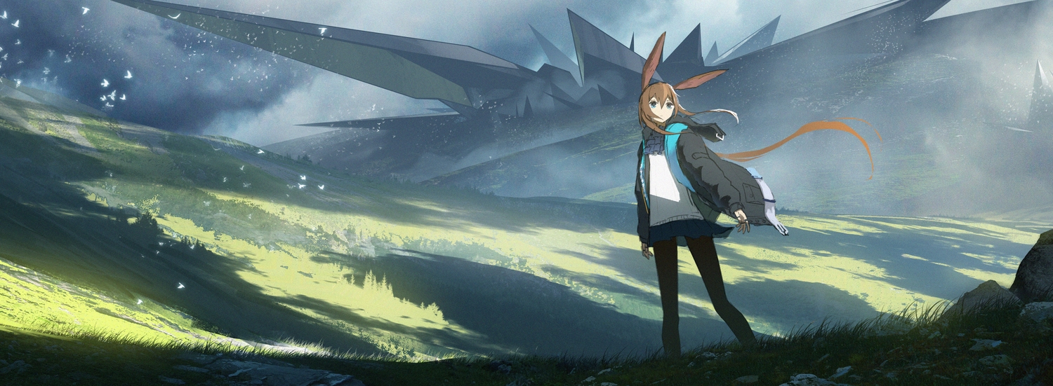 amiya_(arknights) animal_ears aqua_eyes arknights asuteroid brown_hair bunny_ears clouds dualscreen grass landscape long_hair pantyhose scenic skirt sky