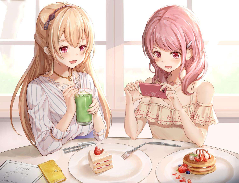 2girls bang_dream! blonde_hair blush cake camera drink food fruit headband long_hair maruyama_aya necklace nogi_momoko phone pink_eyes pink_hair shirasagi_chisato short_hair strawberry