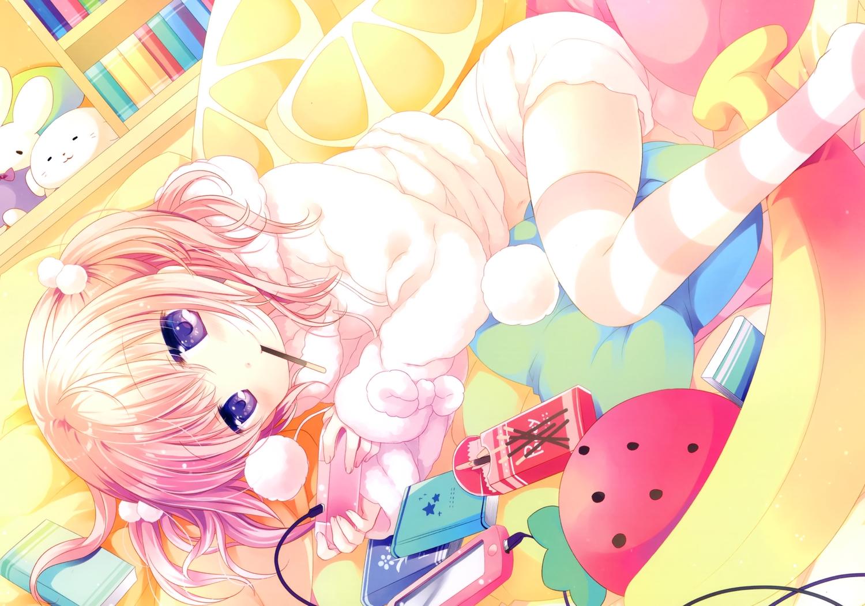 book chocolate food game_console hoodie navel original pajamas phone pink_hair pocky purple_eyes scan short_hair shorts tagme_(artist) thighhighs twintails zettai_ryouiki