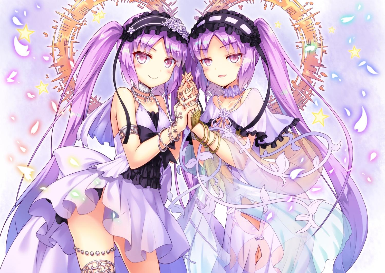 2girls blush collar dress euryale fate/grand_order fate_(series) headdress kasaran_(e_kisama) long_hair panties petals pink_hair see_through stheno twins twintails underwear wristwear