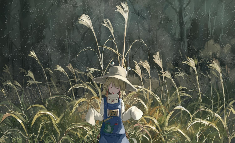grass moriya_suwako rain touhou water yuu-rin