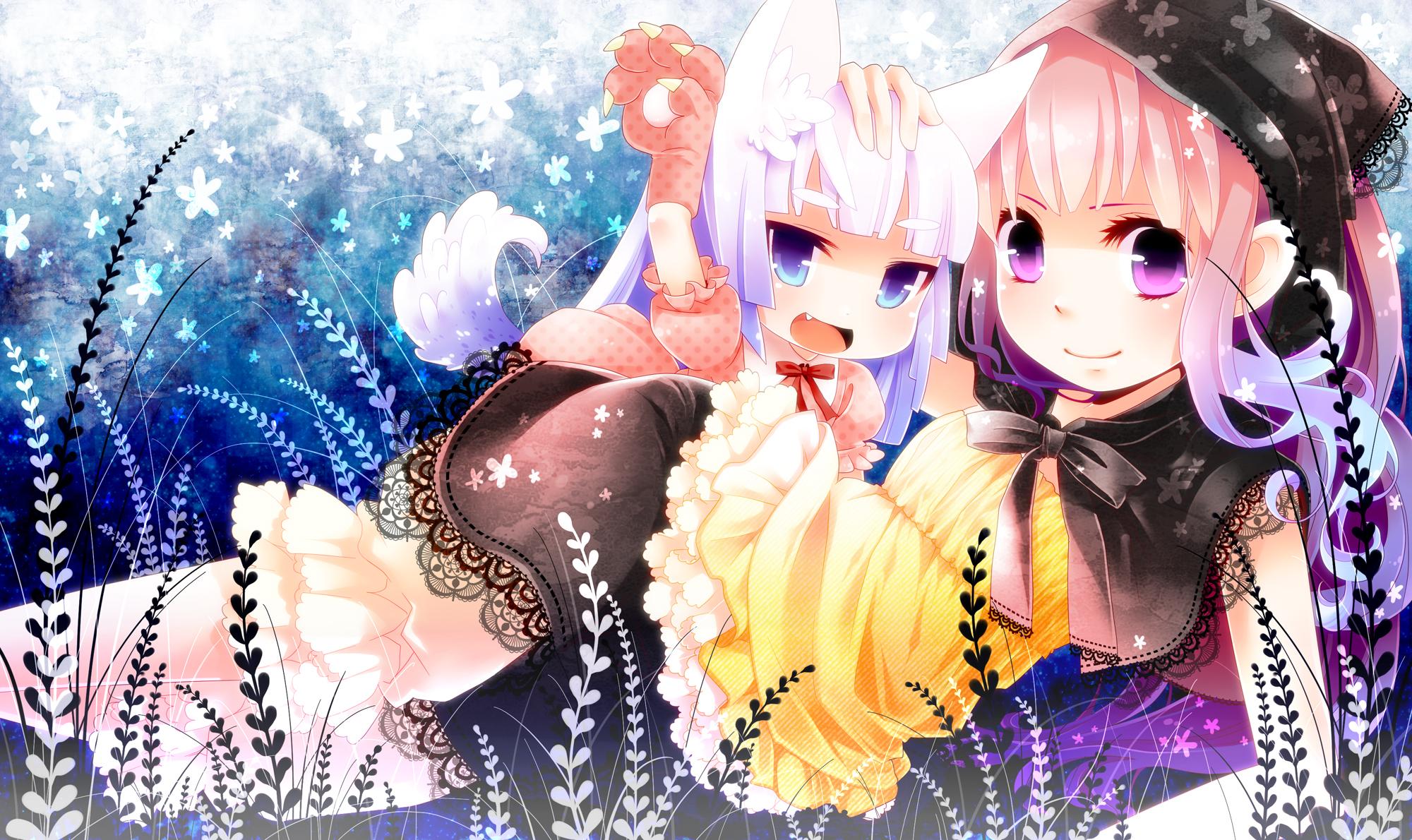 2girls animal_ears blue_eyes blush catgirl dress gray_hair long_hair moonyan purple_eyes purple_hair tail