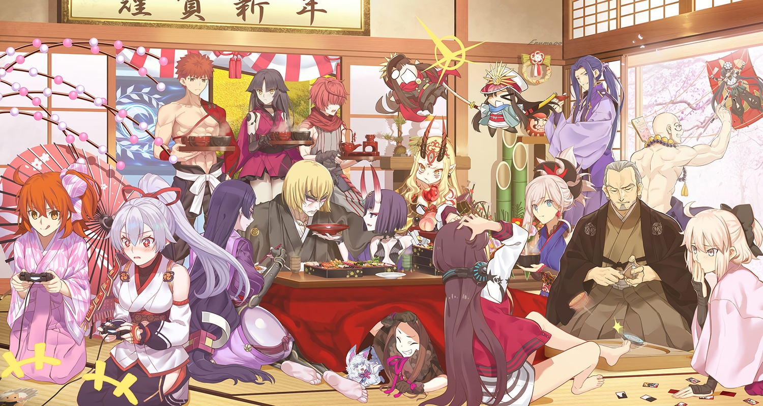 aora black_hair blonde_hair blue_hair chacha_(fate/grand_order) chibi demon emiya_shirou fate/grand_order fate_(series) food fou_(fate/grand_order) fujimaru_ritsuka_(female) fuuma_kotarou game_console glasses gray_eyes headphones horns houzouin_inshun_(fate/grand_order) ibaraki_douji_(fate) japanese_clothes katou_danzou kimono long_hair male minamoto_no_yorimitsu_(fate) miyamoto_musashi_(fate/grand_order) mochizuki_chiyome nobunaga_oda_(fate) okita_souji_(fate) orange_eyes orange_hair ponytail purple_hair red_eyes ribbons sakata_kintoki_(fate) sengo_muramasa short_hair shuten_douji_(fate) signed sword tomoe_gozen umbrella uniform weapon white yagyuu_munenori_(fate/grand_order) yellow_eyes