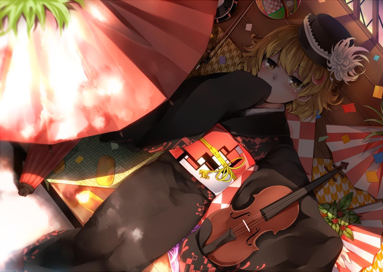 blonde_hair blush hat instrument japanese_clothes kazetto kimono lunasa_prismriver shade short_hair touhou umbrella violin waifu2x yellow_eyes