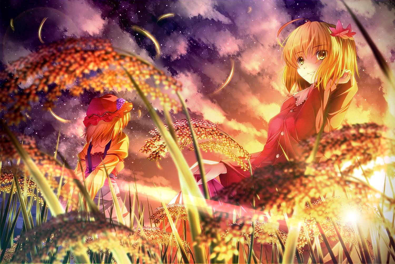 2girls aki_minoriko aki_shizuha blonde_hair clouds food fruit hat ryosios short_hair sky touhou waifu2x yellow_eyes