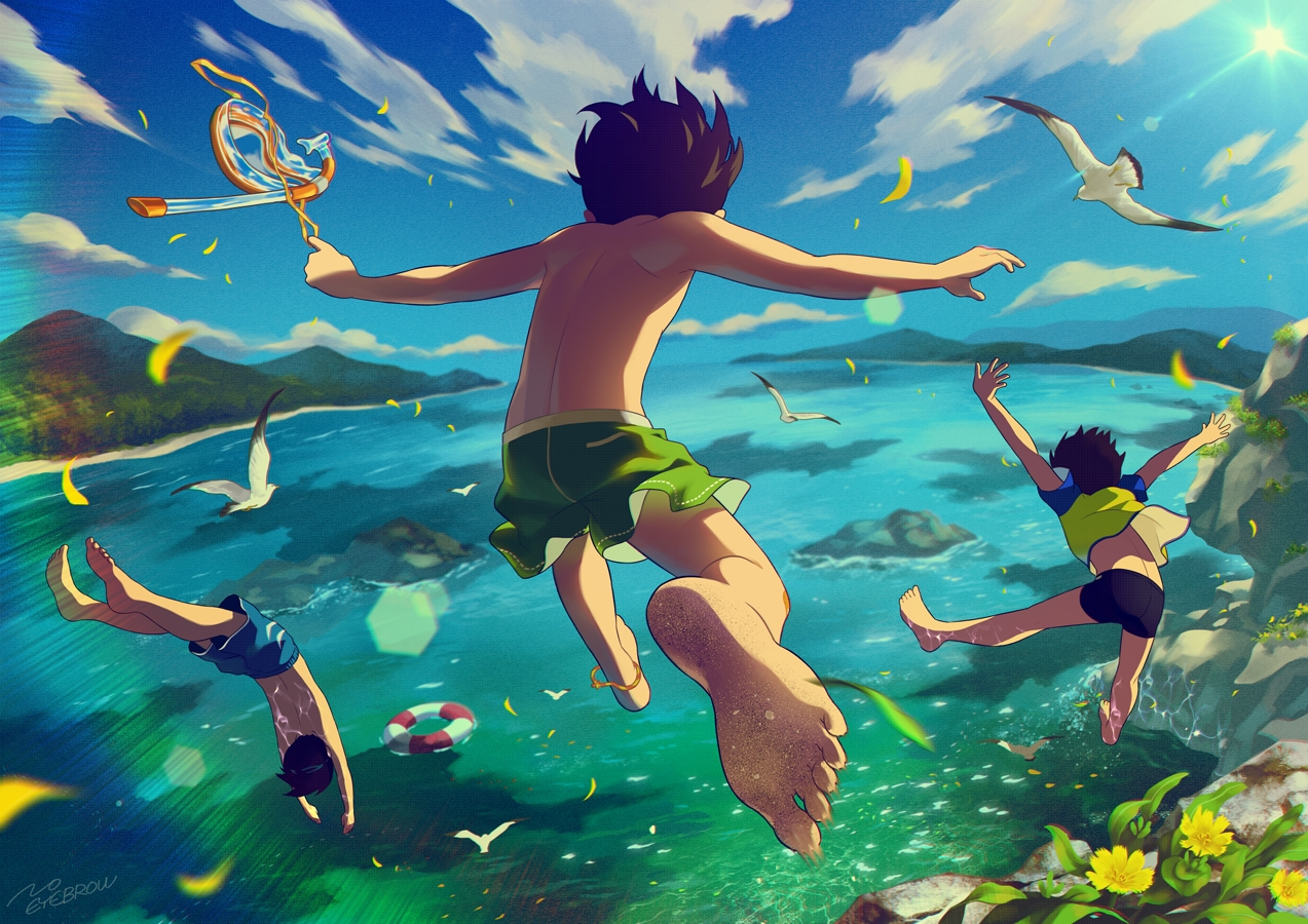 all_male animal barefoot bird clouds flowers goggles male noeyebrow_(mauve) original petals rainbow short_hair signed sky swimsuit water