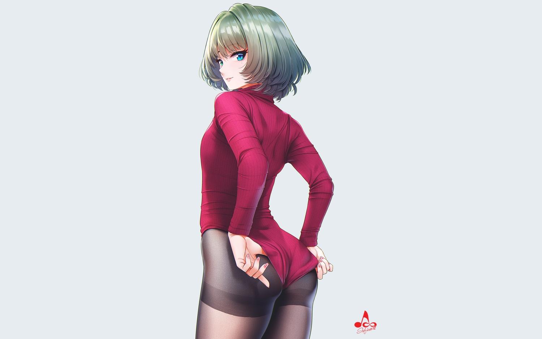ass bicolored_eyes green_hair idolmaster idolmaster_cinderella_girls infinote leotard pantyhose short_hair takagaki_kaede watermark