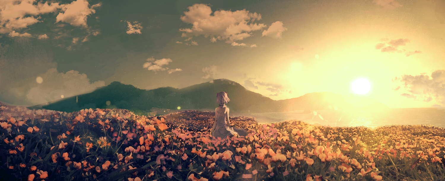clouds flowers kudou_chitose kumamoto_nomii-kun nijisanji polychromatic scenic short_hair sky sunset