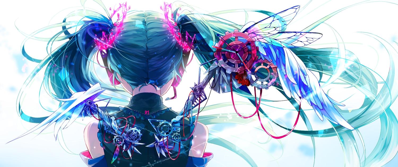 aliasing hatsune_miku long_hair shirayuki_towa twintails vocaloid