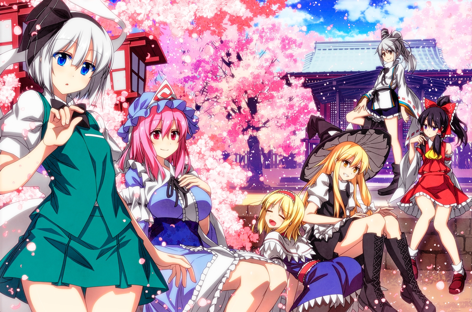 alice_margatroid black_hair blonde_hair blue_eyes boots bow breast_hold breasts brown_eyes cherry_blossoms dress flowers gray_hair group hakurei_reimu hat headband japanese_clothes katana kirisame_marisa konpaku_youmu miko mononobe_no_futo myon pantyhose petals pink_hair purple_eyes red_eyes saigyouji_yuyuko sazanami_mio short_hair shrine skirt sword touhou tree weapon witch witch_hat yellow_eyes