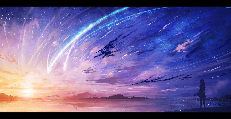 clouds jpeg_artifacts kimi_no_na_wa kirimimi miyamizu_mitsuha scenic silhouette sky stars sunset water