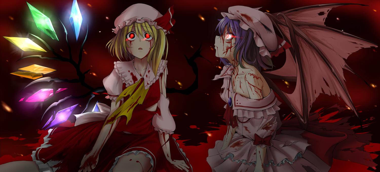2girls blonde_hair blood bow dress flandre_scarlet hat purple_hair red_eyes remilia_scarlet takebi touhou vampire wings
