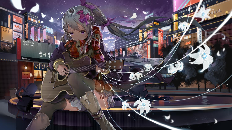 bodhi_wushushenghua building city clouds flowers gray_hair guitar instrument long_hair original ponytail purple_eyes sky