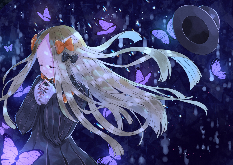 abigail_williams_(fate/grand_order) blonde_hair blue bow butterfly dress fate/grand_order fate_(series) hat long_hair sinobi_illust