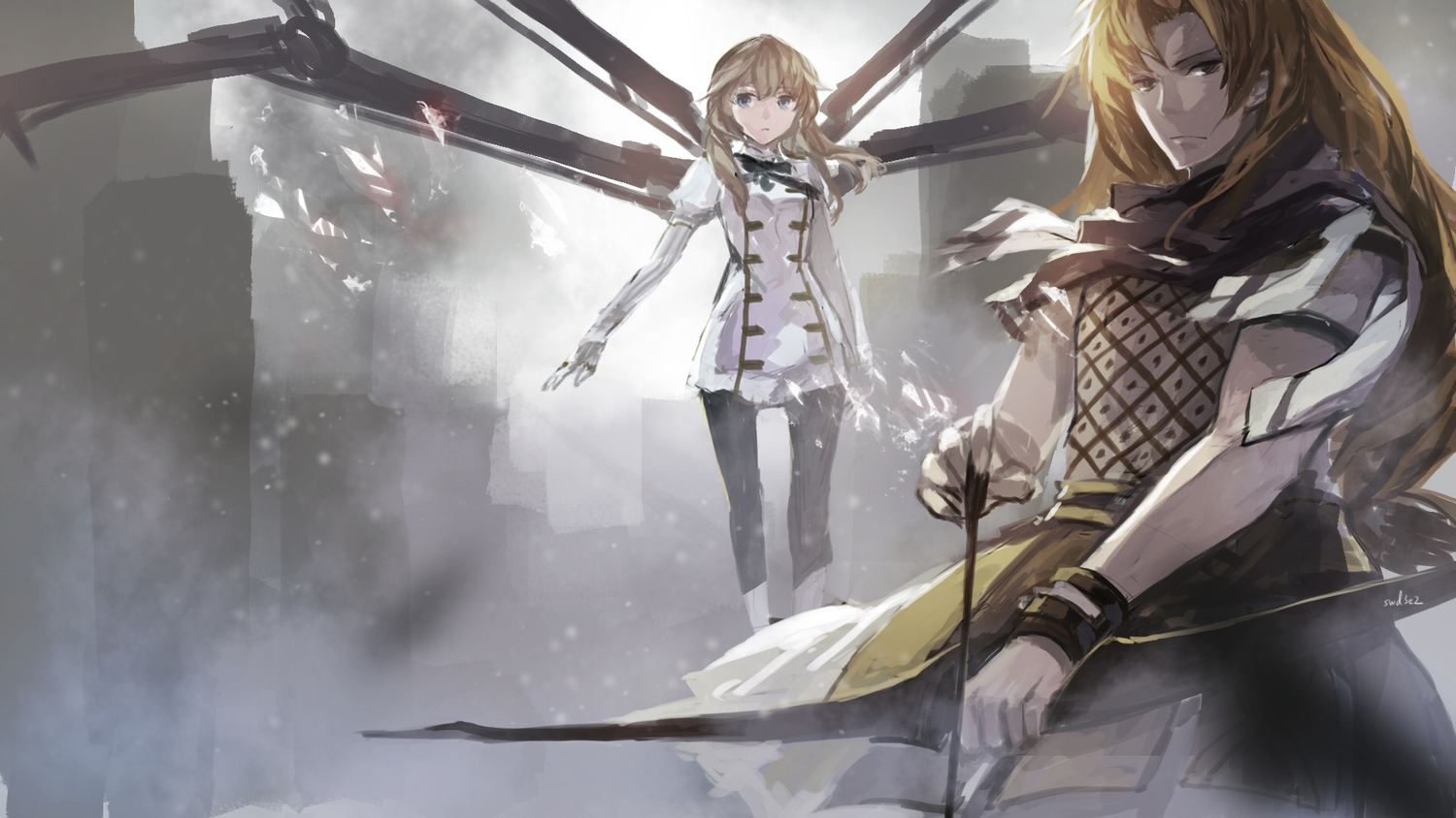 2girls blonde_hair bow_(weapon) brown_hair chiron fate/apocrypha fate_(series) fiore_forvedge_yggdmillennia long_hair swd3e2 weapon wristwear
