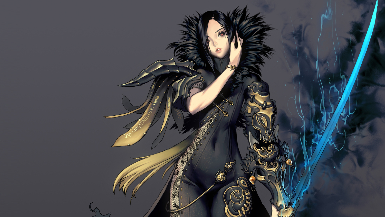 armor black_hair blade_&_soul chinese_clothes chinese_dress dress gray jin_varrel orange_eyes sword weapon wristwear